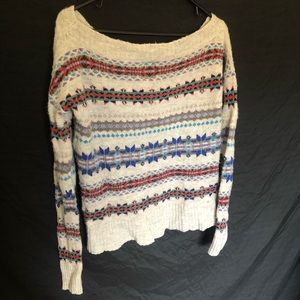 American Eagle Off-the-Shoulder Patterned Sweater
